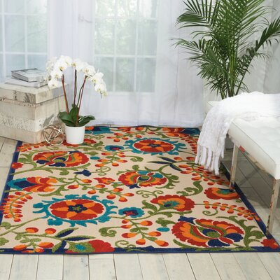 Kimbell Donohoe Beige/Green Indoor/Outdoor Area Rug Rug Size: Rectangle 28 x 4