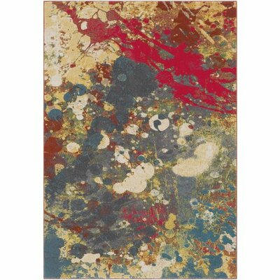 Donvers Bright Red/Charcoal Area Rug Rug Size: 53 x 76