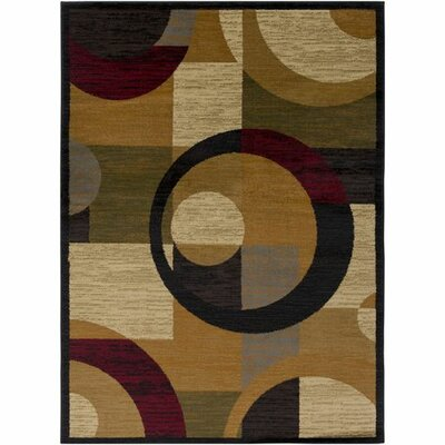 Rita Burnt Orange/Dark Red Area Rug Rug Size: 93 x 126