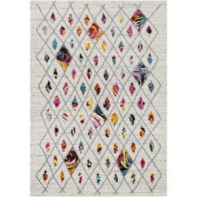 Basilica Medium Gray/Bright Pink Area Rug Rug Size: 67 x 96