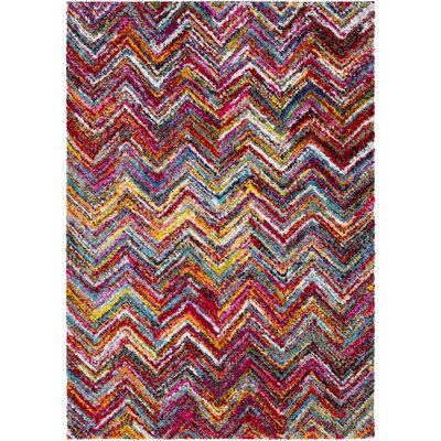Dorchester Bright Pink/Medium Gray Chevron Area Rug Rug Size: 53 x 73