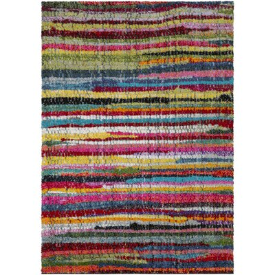 Dorchester Bright Pink/Medium Gray Striped Area Rug Rug Size: 53 x 73