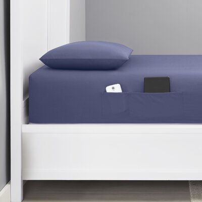 Chandler Bonus Pocket 200 Thread Count Cotton Percale Sheet Set Size: Twin XL, Color: Blue