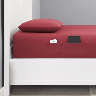 Chandler Bonus Pocket 200 Thread Count Cotton Percale Sheet Set Size: Twin, Color: Red