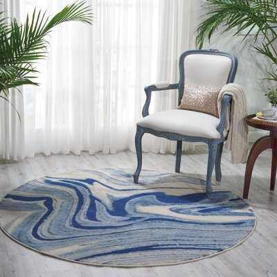 Melinda Blue Area Rug Rug Size: Round 56 x 56
