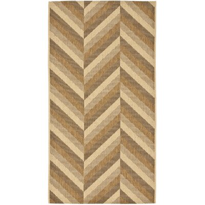 Mullen Creme / Brown Outdoor Area Rug Rug Size: Rectangle 27 x 5