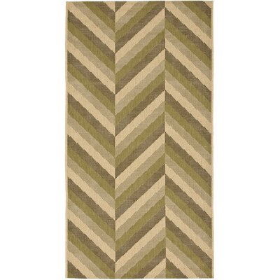 Mullen Cream / Olive Outdoor Area Rug Rug Size: Rectangle 27 x 5