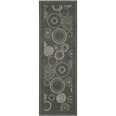 Mullen Black/Sand Circle Outdoor Rug Rug Size: Runner 24 x 14