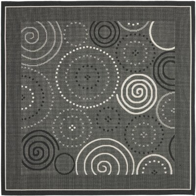 Mullen Black/Sand Circle Outdoor Rug Rug Size: Square 710