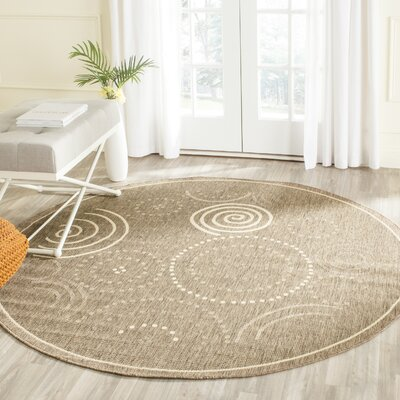 Mullen Circles Outdoor Power Loomed Rug Rug Size: Round 53