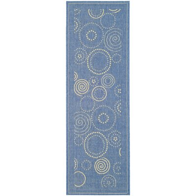 Mullen Circle Blue & Natural Area Rug Rug Size: Runner 24 x 14