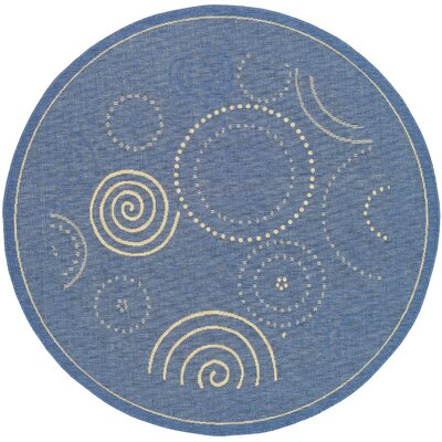 Jada Circle Blue & Natural Area Rug Rug Size: Round 53