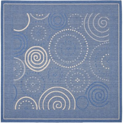 Mullen Circle Blue & Natural Area Rug Rug Size: Square 67