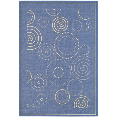 Mullen Circle Blue & Natural Area Rug Rug Size: 53 x 77