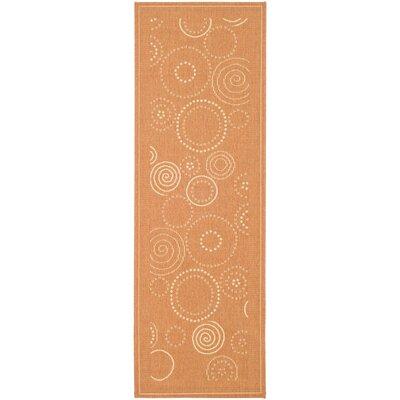 Jada Terracotta/Natural Circle Outdoor Rug Rug Size: Runner 24 x 67