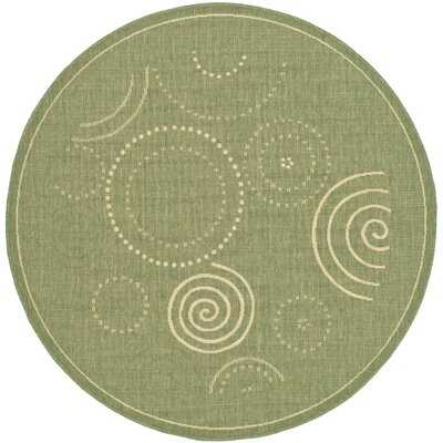 Mullen Olive Outdoor Area Rug Rug Size: Round 67
