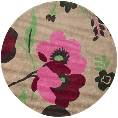 Cruz Hand-Woven Wool Sand Area Rug Rug Size: Round 5