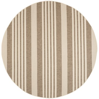 Burwinda Brown & Bone Outdoor Area Rug Rug Size: Round 710