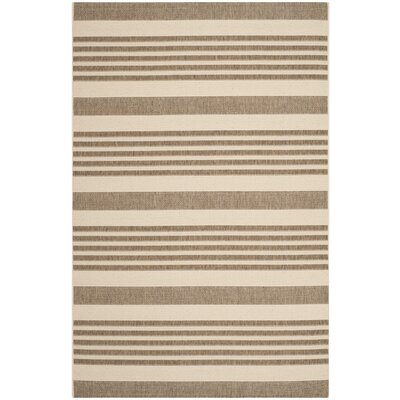 Jada Brown & Bone Outdoor Area Rug Rug Size: 4 x 57