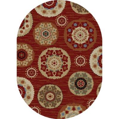Greta Deco Pinwheel Claret Area Rug Rug Size: Oval 5 x 8