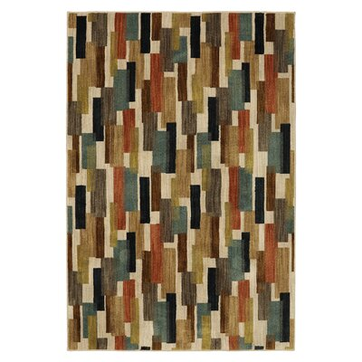 Alva Tiles Brown/Beige Area Rug Rug Size: 5 x 8