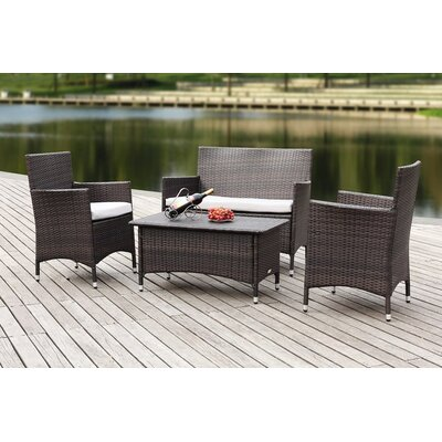 Skylar 4 Piece Deep Seating Group with Cushion Finish: Dark Brown with Light Grey Cushions