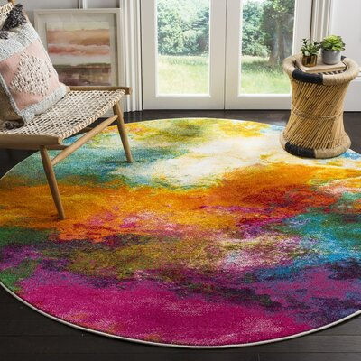 Ciara Orange/Green Area Rug Rug Size: Round 67