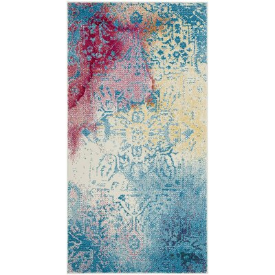 Cienna Blue/Pink Area Rug Rug Size: Rectangle 27 x 5