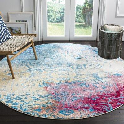 Cienna Blue/Pink Area Rug Rug Size: Round 67