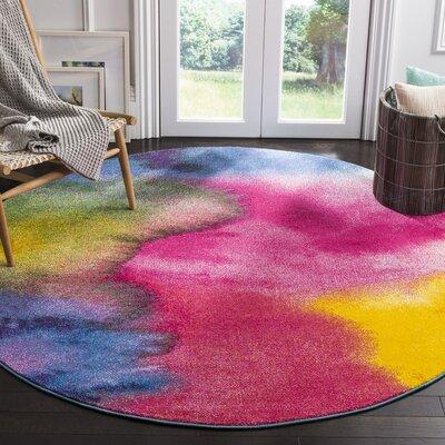 Clara Pink/Purple Area Rug Rug Size: Round 67