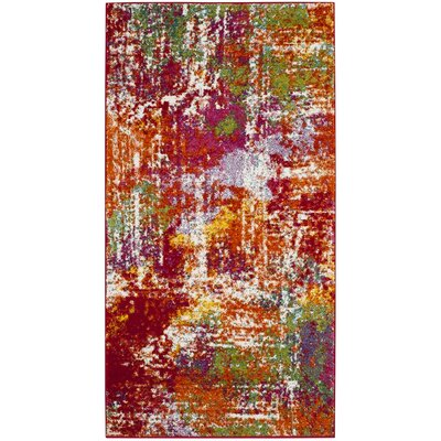 Christy Orange/Red Area Rug Rug Size: 53 x 76