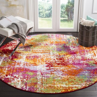 Christy Orange/Red Area Rug Rug Size: Round 67