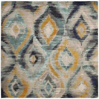 Goose Point Blue Area Rug Rug Size: Square 67