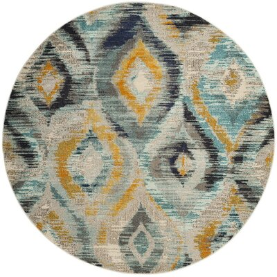 Goose Point Blue/Yellow Area Rug Rug Size: Round 6'7