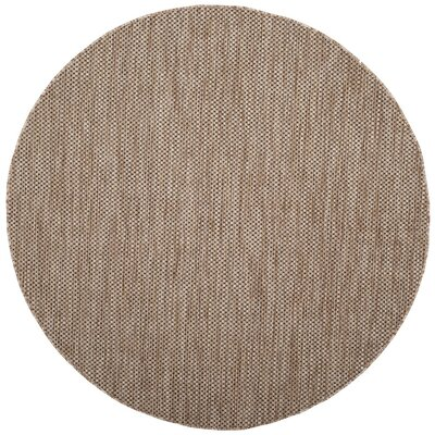 Estella Natural / Black Area Rug Rug Size: Round 67