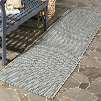 Estella Gray / Navy Indoor/Outdoor Area Rug Rug Size: 53 x 77