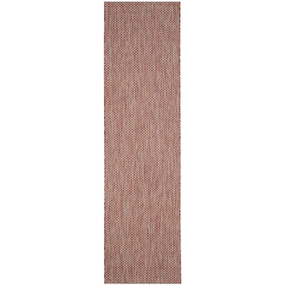 Mullen Hand-Woven Red/Beige Indoor/Outdoor Area Rug Rug Size: Runner 23 x 8