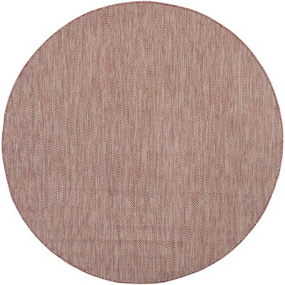 Mullen Red / Beige Indoor/Outdoor Area Rug Rug Size: Round 67