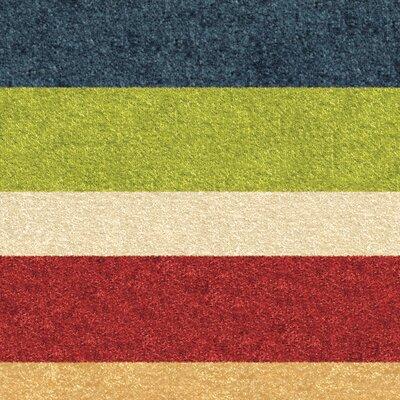 Cara Simple Stripe Red/Green Area Rug