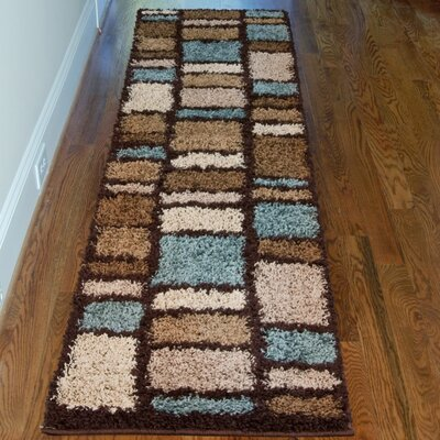 Damian Brown/Blue Area Rug Rug Size: Runner 111 x 75
