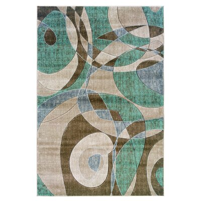 Carina Brown/Turquoise Area Rug Rug Size: Rectangle 5 x 77