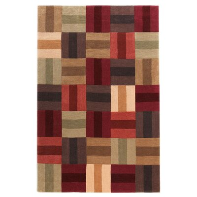 Beaded Hand-Tufted Burgundy/Beige Area Rug Rug Size: 5 x 7