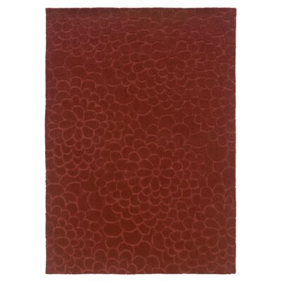 Beaded Hand-Tufted Rust Area Rug Rug Size: 110 x 210