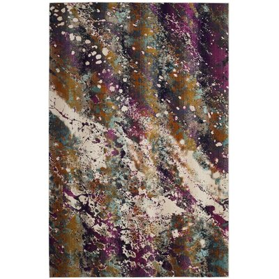 Damon Cream/Magenta Area Rug Rug Size: Square 67