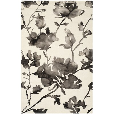 Amya Ivory & Charcoal Floral Area Rug Rug Size: 5 x 8