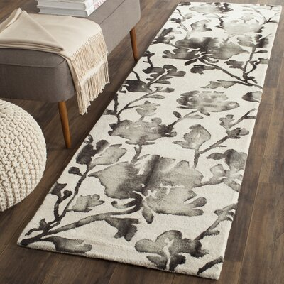 Brinkworth Hand Tufted Wool Ivory/Charcoal Area Rug Rug Size: Runner 23 x 10