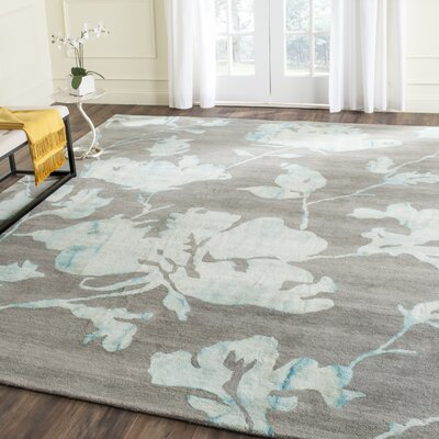 Danny Gray/Turquoise Area Rug Rug Size: Square 7