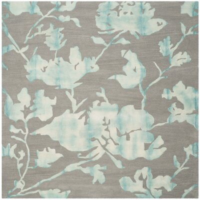 Amya Gray/Turquoise Area Rug Rug Size: Square 7