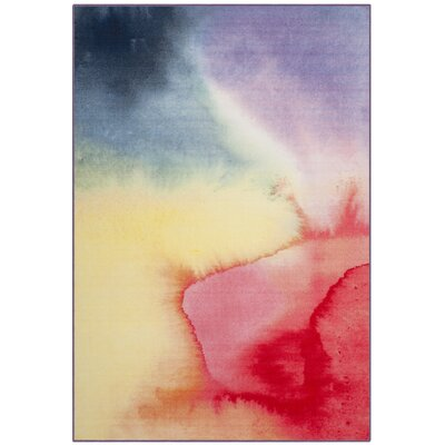 Jasmin Paint Brush Fuchsia/Yellow Area Rug Rug Size: 51 x 76