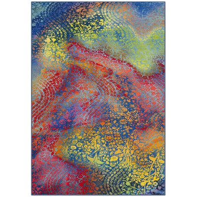 Darcy Paint Brush Blue/Coral Area Rug Rug Size: 3 x 5